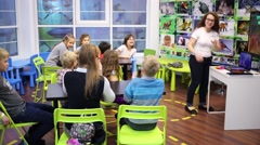 Classroom with children in center for children of Innopark Stock Footage