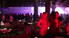 People relax in the bar of the night club Space Moscow Stock Footage