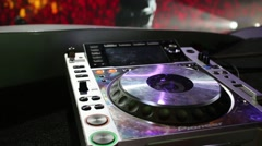 Professional DJ turntable at a party Diskach 90th Stock Footage