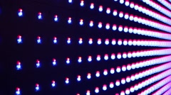 Rows of bright red and blue lights in the night club Stock Footage