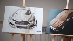 Photos and illustrations at the press event for Ford in SREDA loft Stock Footage