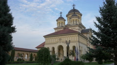 View of the Orthodox Cathedral in the fortress of Alba Iulia Stock Footage