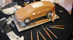 Miniature car in the modeling process with the tools Stock Footage