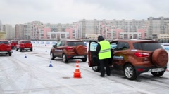 Many cars are on the training ground at the driver training Stock Footage