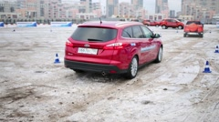 A car with an automatic system of stop front of an obstacle Stock Footage