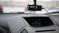 Video recorder, dashboard and the windshield inside car Stock Footage