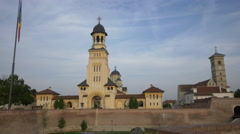 View of the two cathedrals from Alba Iulia fortress Stock Footage