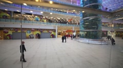 A spacious hall with a huge aquarium in shopping center Stock Footage