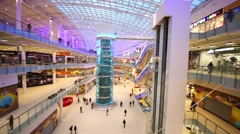 Spacious and modern shopping center Aviapark. Stock Footage