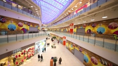 Long hall with shops in shopping center Aviapark. Stock Footage