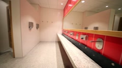 Washbasin and toilet cubicles in shopping center Aviapark. Stock Footage