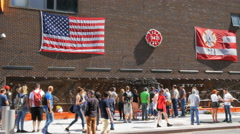 crowds at a memorial to ny fire fighters killed on sept 11 - stock footage