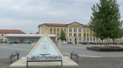 Stock Video Footage of Pyramid of Hava pharaoh in front of the Principia Museum in Alba Iulia