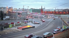 Cityscape with the traffic jam on Vasilyevskiy Spusk. Stock Footage