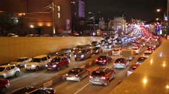 Traffic jam at night in Sadovoe koltso in Moscow. Stock Footage