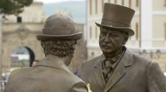 View of two bronze statues facing each other in Alba Iulia fortress Stock Footage