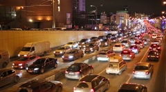 Traffic jam at the night in Sadovoe koltso in Moscow. Stock Footage