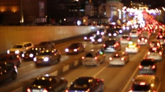Many cars on traffic jam at the night in Sadovoe koltso. Stock Footage