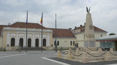 View of the Custozza monument and Union Hall in Alba Iulia Stock Footage