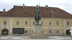 Equestrian statue of Michael the Brave in Alba Iulia Stock Footage