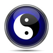 Stock Illustration of Ying yang icon. Internet button on white background..