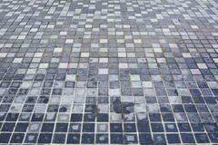 Background of little irregular blue tiles. Stock Photos