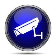 Stock Illustration of Surveillance camera icon. Internet button on white background..