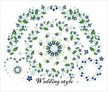 Floral ornament for wedding decoration - stock illustration