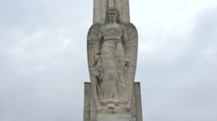 Statue of a winged Victory on the Alba Iulia fortress' obelisk Stock Footage