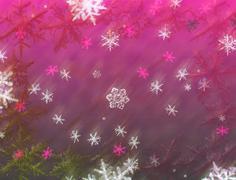 Falling snowflakes christmas card. Snow, winter pattern background illustrati Stock Illustration