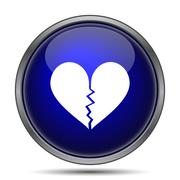Stock Illustration of Broken heart icon. Internet button on white background..