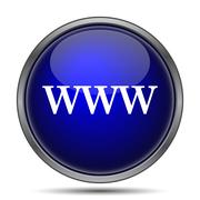WWW icon. Internet button on white background.. - stock illustration