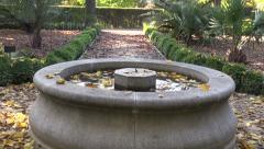 Fountain in botanic garden in autumn Stock Footage
