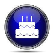 Cake icon. Internet button on white background.. - stock illustration