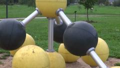Children playground equipment  in the park Stock Footage
