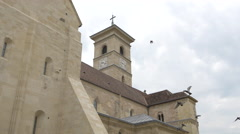 View of the Roman Catholic cathedral in Alba Iulia Stock Footage