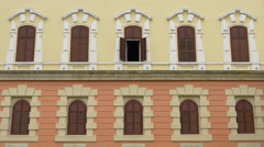 View of open window at the Union Museum in Alba Iulia Stock Footage