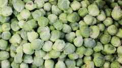 Brussels sprouts at market Stock Footage