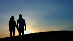 Romantic date at sunset. Stock Footage