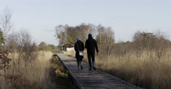 Happy young couple walking bat bridge National Park Stock Footage