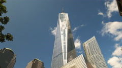 low angle wide view of one world trade center in new york - stock footage