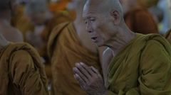 Thai monk praying,Surin,Thailand Stock Footage