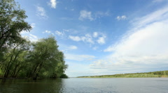 Movement of clouds on the river Irtysh. Lubinsky District, Omsk Region, Russia,  Stock Footage