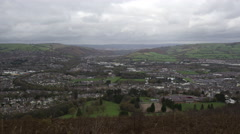 Valley Town on Overcast Day Timelapse Stock Footage