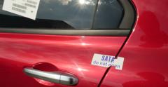 Security seal do not open on a new car Stock Footage