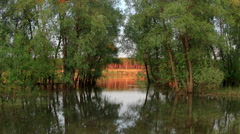Sunset, Spring flood in the river Irtysh. Krasny Yar, Lubinsky District,  Stock Footage