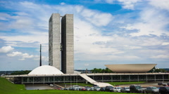 Timelapse View of Congresso Nacional (National Congress) in Brasilia, Brazil Stock Footage