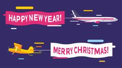 Plane flying with Merry Christmas banners - stock illustration