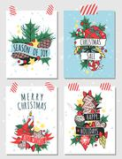New Year greeting card vector banner isolated template - stock illustration