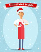 Special Christmas menu cook chef vector illustration - stock illustration